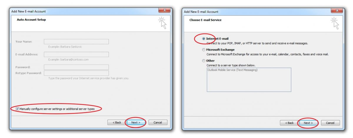 Select Manually Configure and Select POP3
